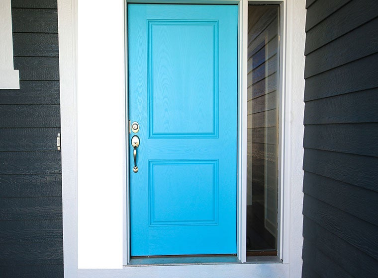 """""""Blue painted accented front door"""""""