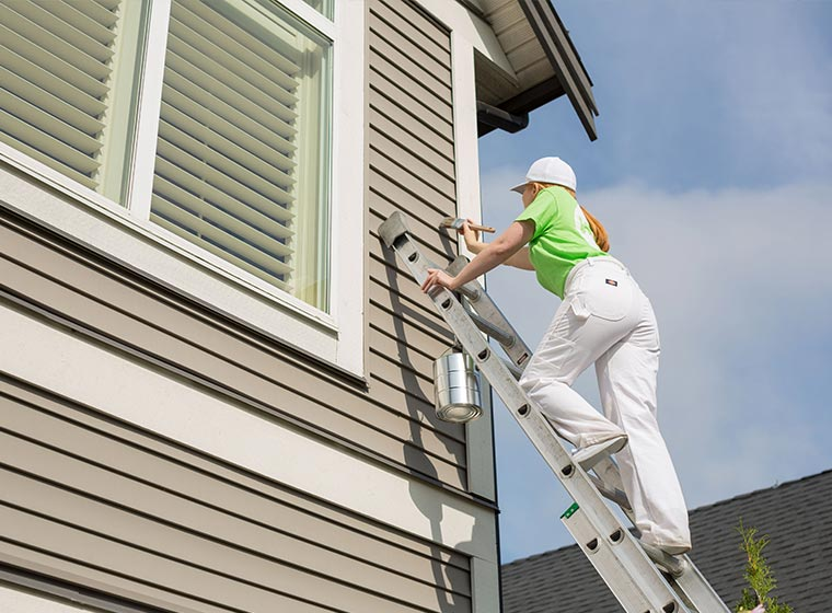 """""""Professional painter on ladder painting exterior siding"""""""