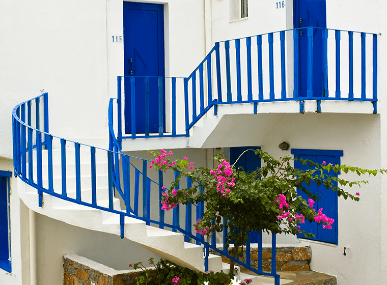 Royal Blue Staircase Railing