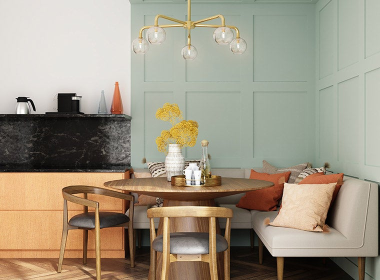 """""""pastel blue accent wall in dining room"""""""