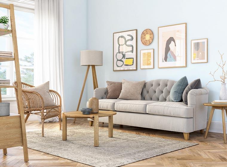 """Living room painted light blue for calm setting"""