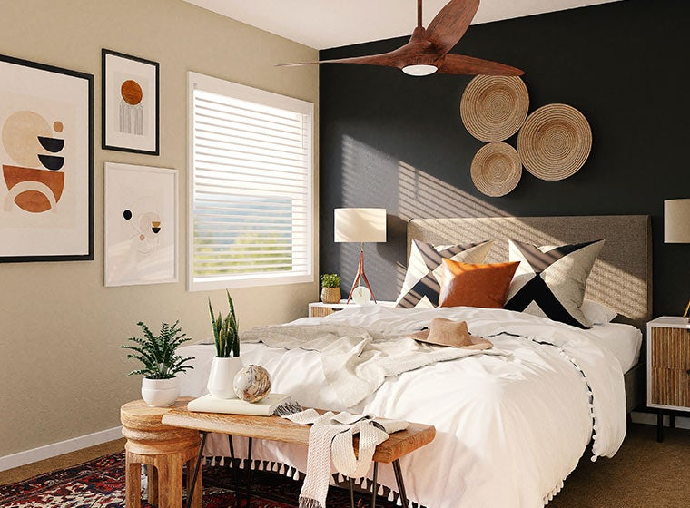 """""""Beach inspired bedroom with black accent wall"""""""