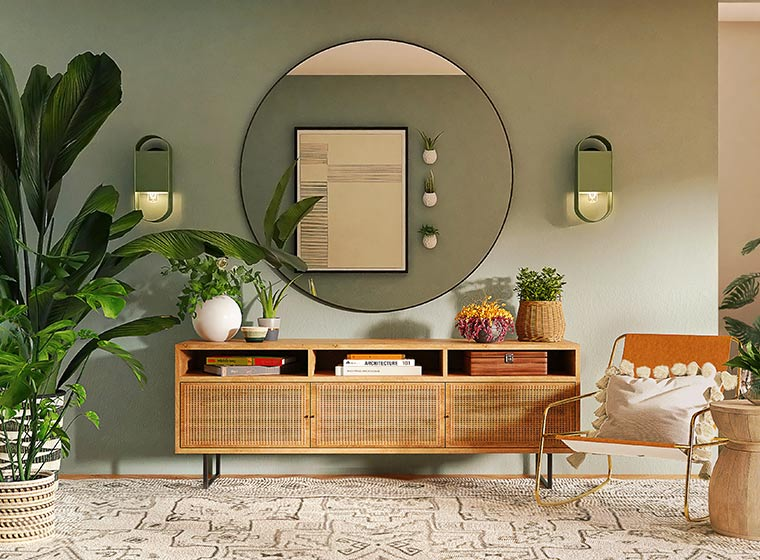 """""""Floral summer living room with a weaved entry table and large circular mirror"""""""