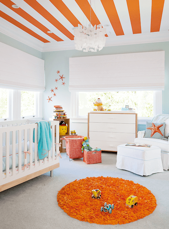 Blue, White and Orange Baby Nursery