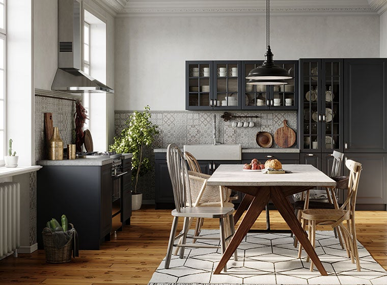 Modern country kitchen with black kitchen cabinets