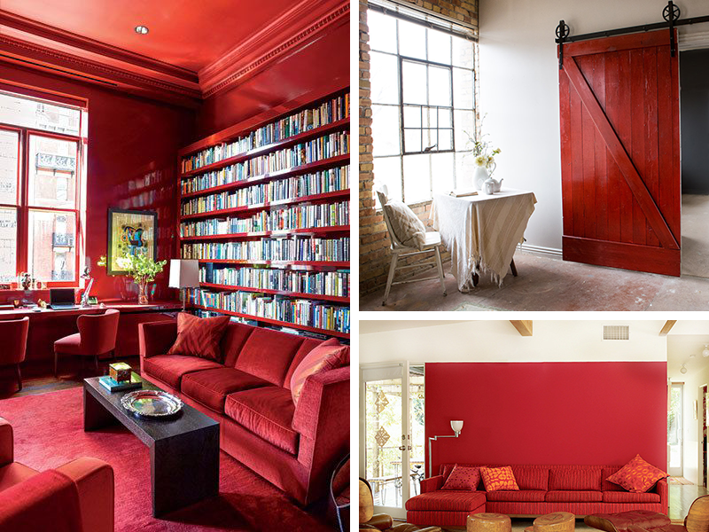 red interior room and doors