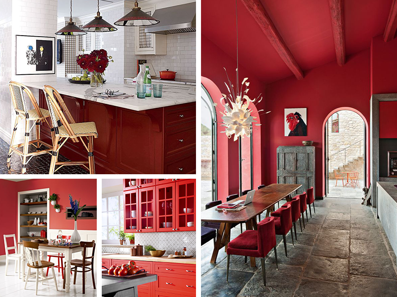 kitchen color schemes with red