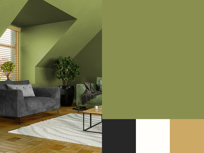 """""""Peridot painted living room with great single seater and plants"""""""