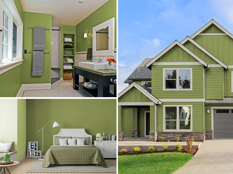 """""""Peridot color collage painted home, bathroom and exterior"""""""