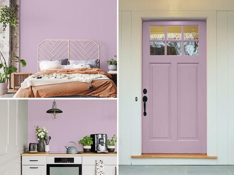 """Room, Kitchen, and Front door painted Amethyst"""