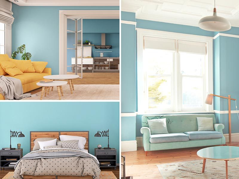 """""""Collage of two living rooms and a bedroom painted Aquamarine"""""""