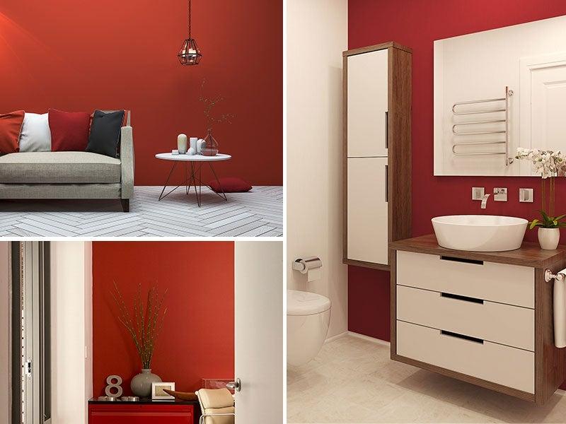 """Collage of Garnet painted rooms, bathroom, living room, entryway"""