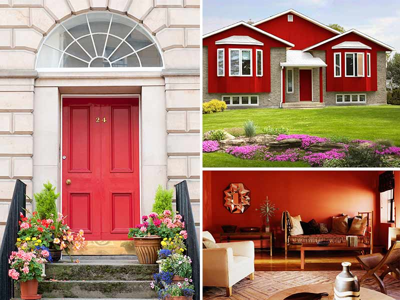 """""""Collage of Garnet painted front door, exterior and living room"""""""
