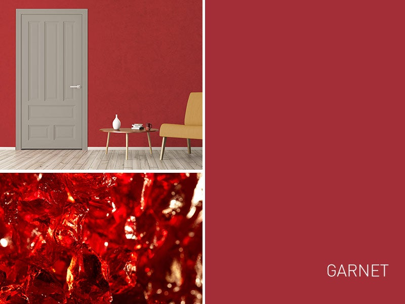 """""""Garnet Color swatch with example living room"""""""
