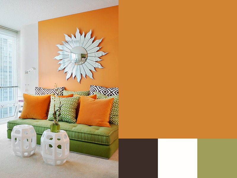 """""""Amber swatch with Amber painted living room"""""""