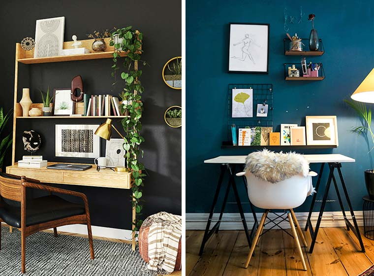 """""""Side by side image: dark earth home office & blue vibrant home office"""""""