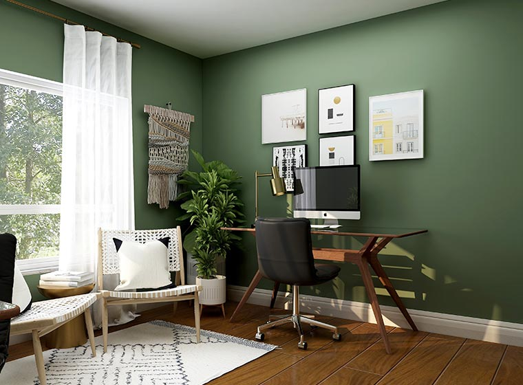 """""""Earthy inspired home office with designer wood desk and earth green walls"""""""