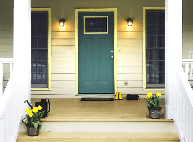 """""""bright home with emerald colored door"""""""