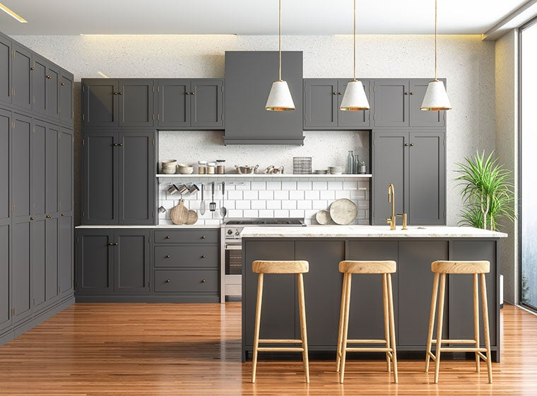 Urban kitchen, grey cabinets with wooden flooring