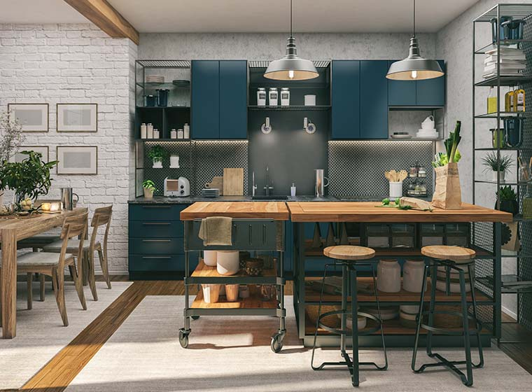 chic farmhouse kitchen with navy blue kitchen cabinets