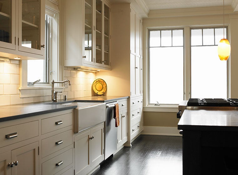 warm home-style kitchen with oatmeal cabinets