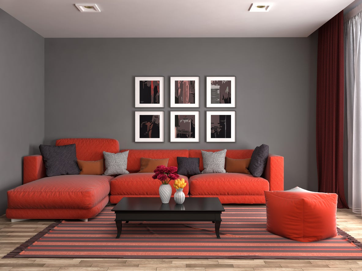 Red Sofa in Living Room