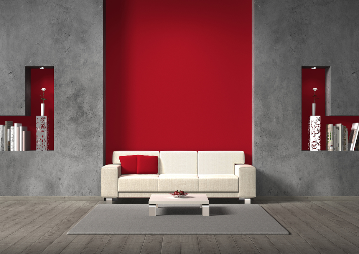 Dark gray room with red accent wall