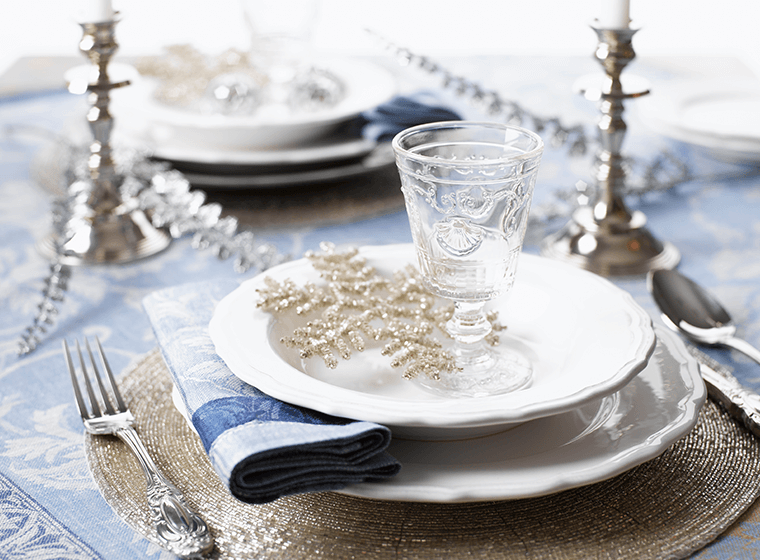 silver table setting