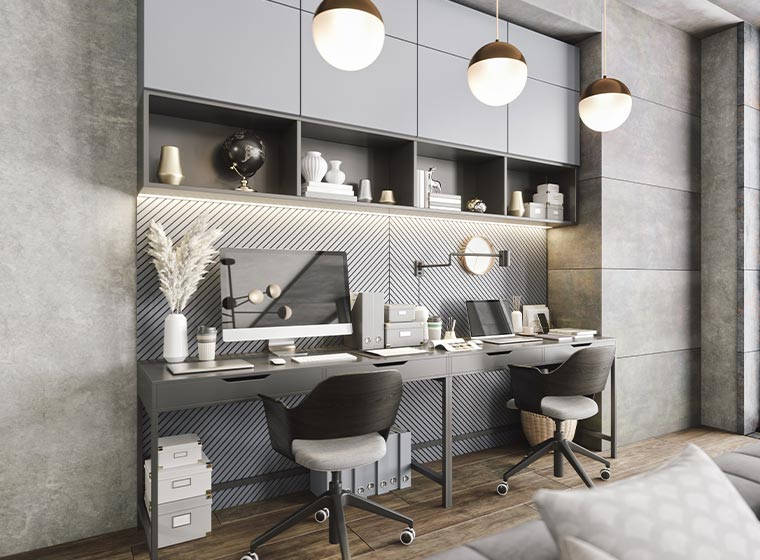 """""""Modern minimalist home office with white color scheme"""""""