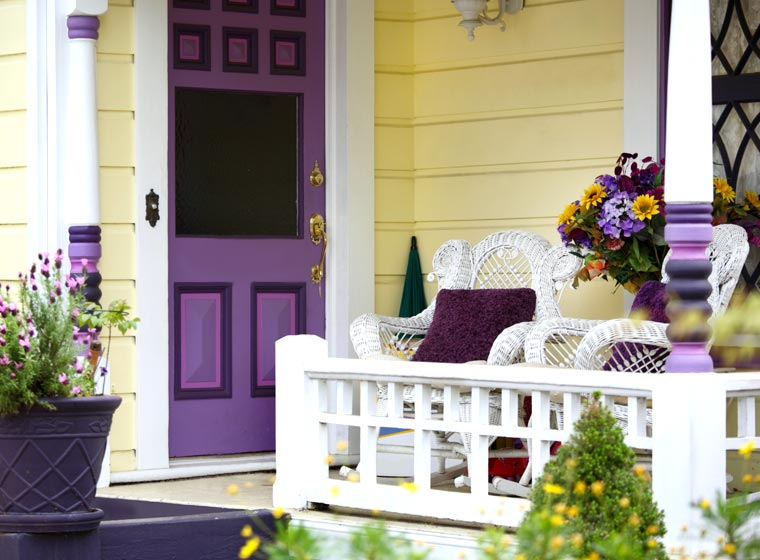 """""""Bright colored home accented with purple"""""""