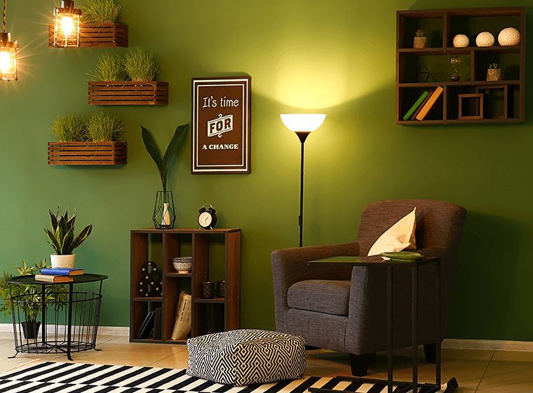 Olive Green Walls with Brown Furniture