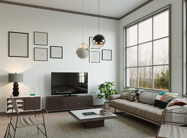 Modern living room with with large windows and brown trim