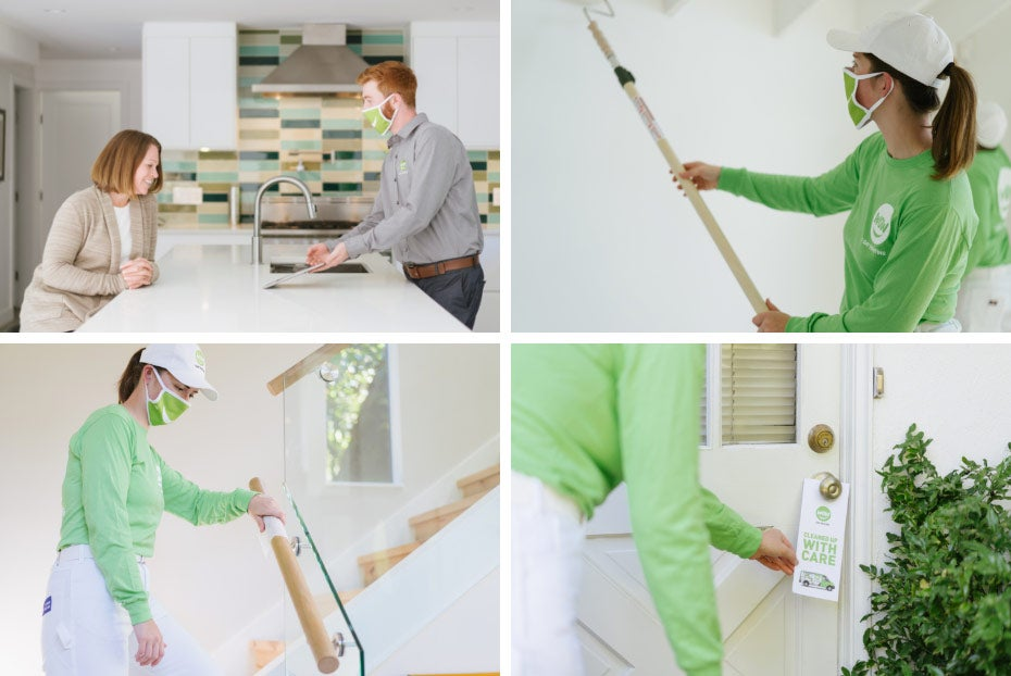Four-image grid of painters providing safe painting experience to customers