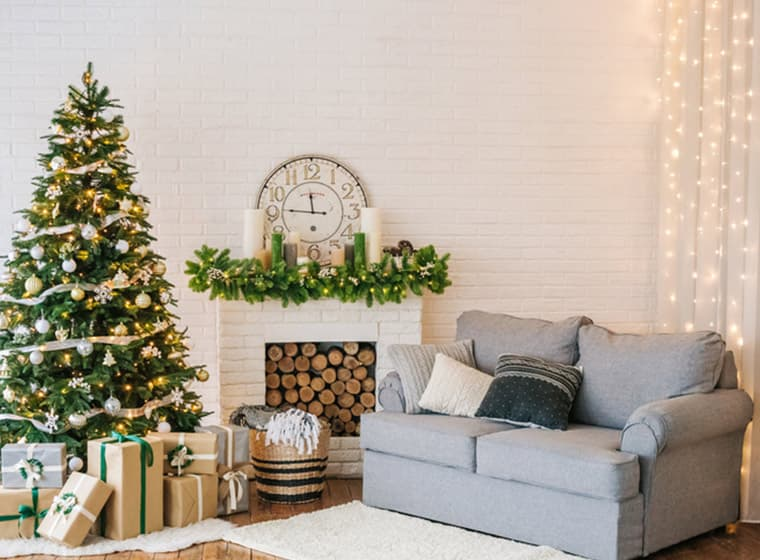 Holiday living room white brick fireplace