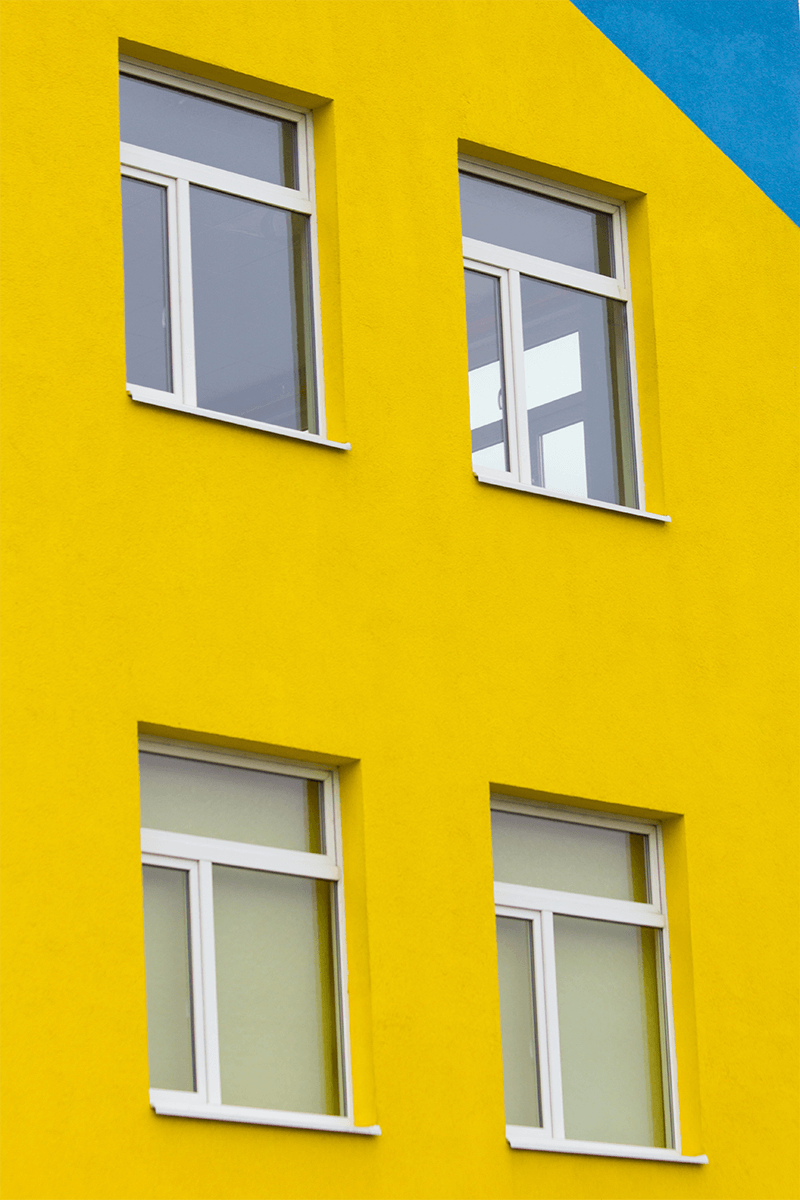 Bright Yellow Exterior Wall