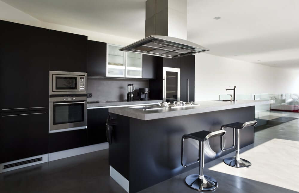 """""""Clean black finished full kitchen"""""""