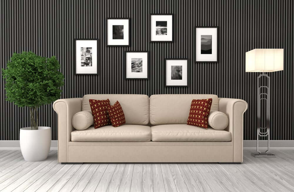 """""""Lined black paint living room"""""""