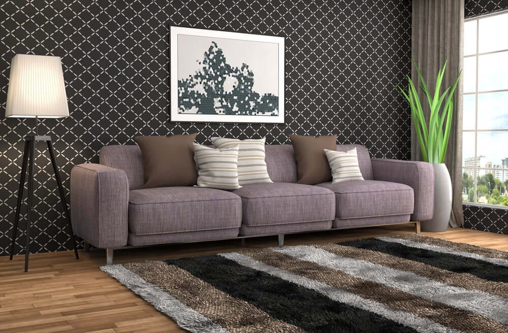 """""""Lined black wallpaper in an old fashioned living room"""""""