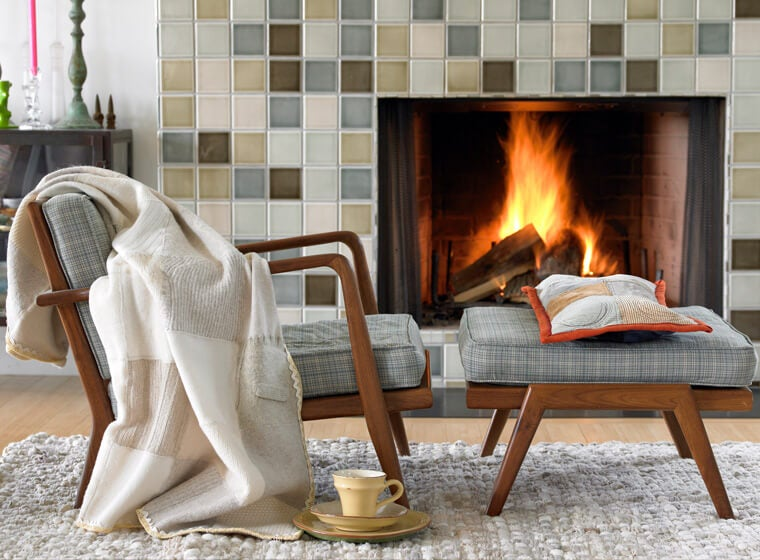 Hygge reading chair and fireplace
