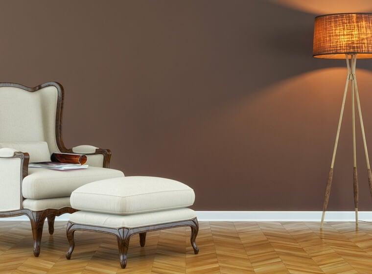 Mocha wall and white reaching chair