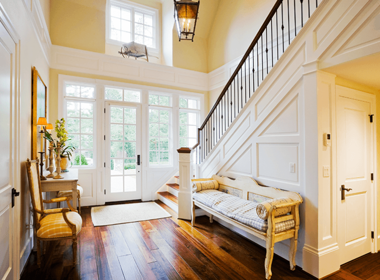 Furniture For Curved Wall In Foyer, Warm And Welcoming Hallway Color Ideas Wow 1 Day Painting