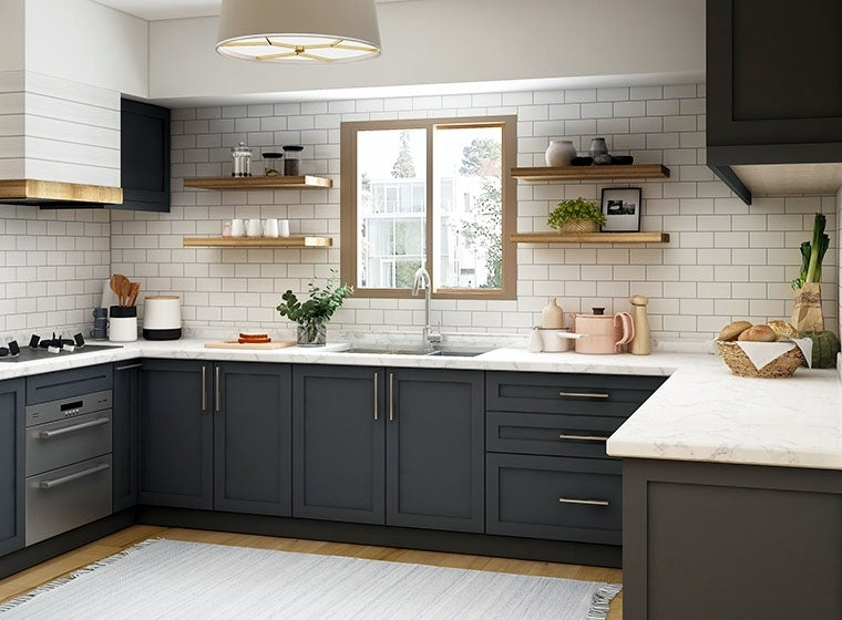 modern contemporary kitchen with wooden accents and dark cabinets