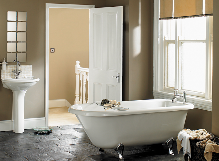 Taupe Bathroom Interior Walls