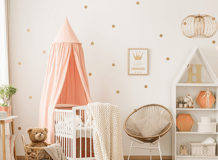 Pink and White Baby Nursery