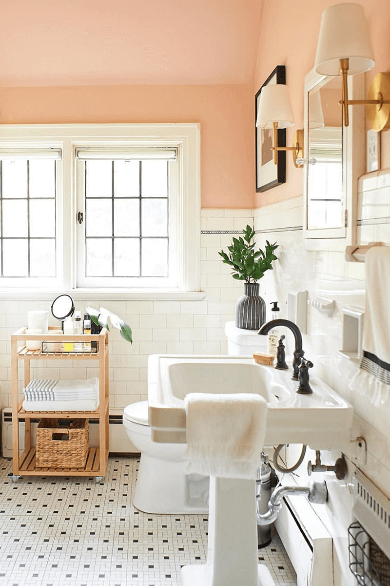 Peach Colored Powder Room