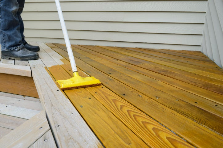 Applying Stain to Deck